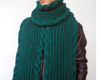Green Long  Cable   Rib Chunky  Scarf Hand Knit Men Scarf Unisex  Scarf NEW