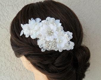 Bridal Hair Accessory, Wedding Hair Comb, Wedding Headpiece, Lace Hair Comb, Wedding Hair Accessory, Bridal Hair Comb, Rhinestone Hair Comb
