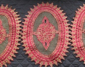 Three Vintage Gold and Burgundy Doilies Oval set of Centerpieces