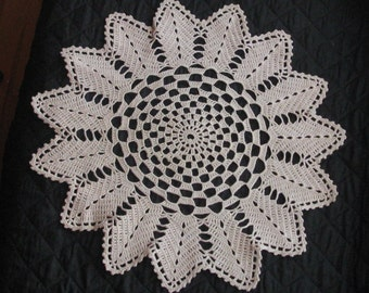 Vintage Handmade Crocheted Round  Ecru Cotton Doily,    17 Inches.  Lovely Design