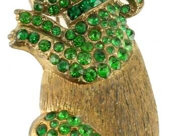 "Rare Vintage Green Rhinestones Gold Tone Sitting Bunny Rabbit Pin 2.25"""