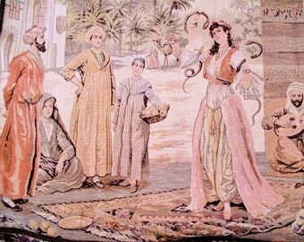 Belgian Wall Tapestry of a Caravanserrai Marketplace Scene on the Old Silk Route Mounted by the Old Silk Route
