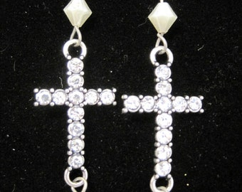 Rhinestone Silver Cross,Vintage Cream Bead New Holiday Earrings