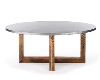 Zinc Table Zinc Dining Table -  Oval Zinc Top Table