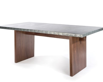 Zinc Table Zinc Dining Table -  The Sonoma Zinc Top Solid Walnut Base Dining Table