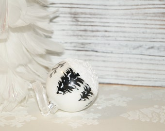 Our Most Popular with a Twist, Hand Painted Christmas Ornament, Aspen Snow Scene with Snow falling, & Black Pines, Glass Christmas Ornament