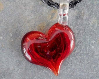 Ruby Red/Garnet Glass Heart Cremation Pendant, for Pets, Hand Sculpted