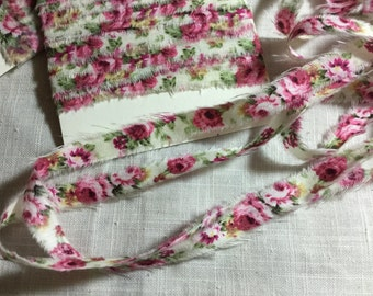 French Inspired Ribbon, Paris Ribbon, Vintage Floral Rose Trim, Floral Ribbon Trim, 10 MM FLORAL Ribbon, Rose Ticking Trim Ribbon ECS