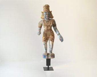 Antique Wooden Figure Polychrome Blue Man Collector's Item Shipping Included in the U.S.