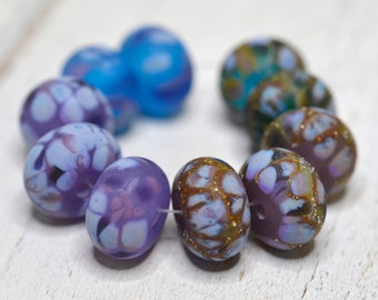 purple lampwork beads....SRA handmade, gorgeous aqua blue and lavender on crocus set of (10) lampwork beads for making jewelry 52416-4