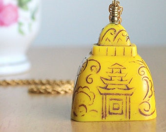 Czech Antique Pagoda Glass Tassel - Egyptian Revival Period - Very Rare 1920s Etched Carved Glass Bead Pendant