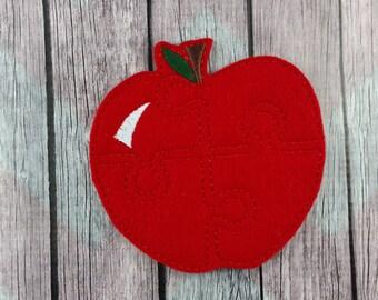"Apple felt 4x4"" Puzzle, food puzzle"