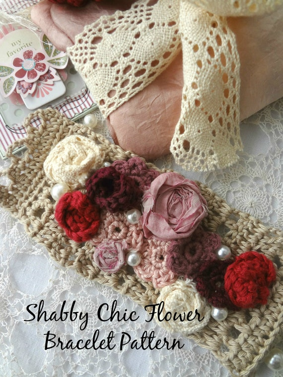 crochet pattern shabby chic crochet flower braceletflower