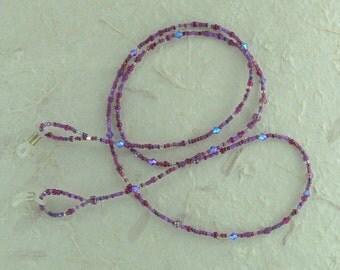 SALE: Pretty PLUMS MAGENTA Glass & Swarovski Crystal Beads Eyeglass Chain