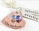 Grandma Heart Cluster Necklace with 2 Names & Birthstones   Sterling Silver and Copper Personalized Jewelry   Gift for Grandma