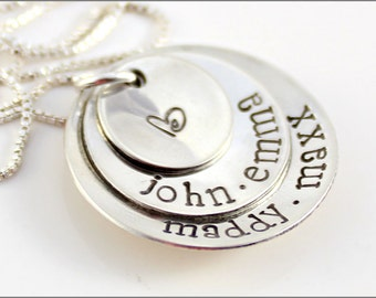 Names Stacked with Design Stamp | Personalized Mom Necklace | Hand Stamped Jewelry