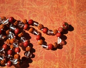 Rudraksha Quartz Coral Mala, Coral Rudraksha Mala, Prayer Beads, Yoga Mala, Mediation Mala, Rudraksha Necklace, Knotted, Japa Mala, MM02