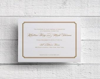 Traditional Gold Rehearsal Dinner Invitation, Dinner Invitation, Formal Dinner, Wedding Rehearsal, Pre-Wedding Dinner, Gold Foil, Invite PDF