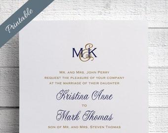 Printable Wedding Invitations Monogram Wedding Invitations