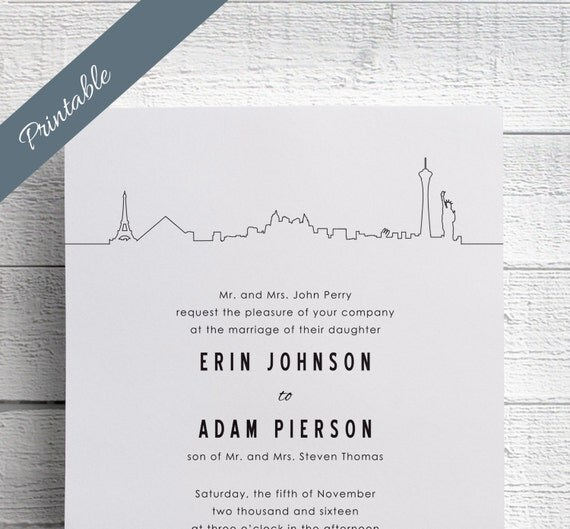 Las Vegas Wedding Invitation Printable