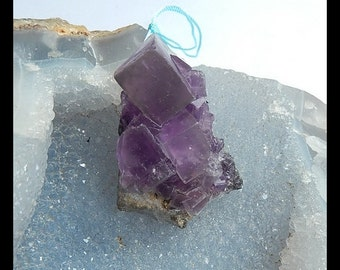 Nugget Drusy Geode Purple Fluorite Pendant Bend,46x32x23mm,32.4g