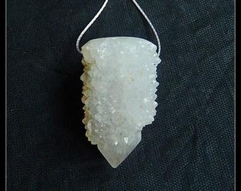 Drusy White Quartz Gemstone Pendant Bead,28x18x14mm,9g