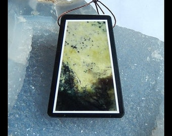 Serpentine With Black Stone Intarsia Pendant Bead,Focal Bead,45x34x7mm,19.8g