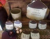 Jugs, Primitive Jugs, Colonial Jugs, handmade wooden jugs and crocks, Antique jugs