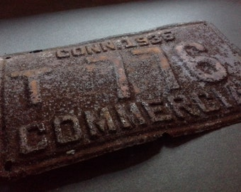 Old Rusty 1935 CT Commercial License Plate