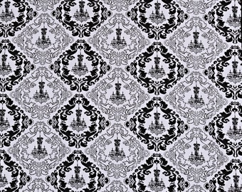 "Chandelier Backdrop White Black Photo Prop Shoots 55"" x 74"" Damask Posh Photography Prop Fabric"