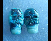 New,Carved Chrysocolla Skull Cabochon Pairs,24x14x7mm,9.00g