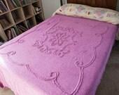 Chenille Bedspread, Full Chenille Bedspread, Deep Pink Chenille,  Magenta Full
