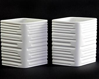 Heinrich Op Art Vase Pair Design Maljakko by Nanny Still Mid Century Porcelain Panton Space Age Era Design 60s