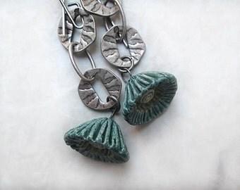 Long Earrings, Silver Earrings, Blue Earrings, Boho, Bohemian Earrings, OOAK