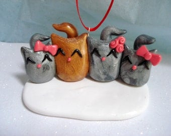 Family Christmas Ornament - Family of 4 Ornament - Personalized Christmas Ornament - Cat Christmas Ornaments - Kitty Christmas Decoration