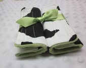 Reversible Car Seat or Stroller Strap Covers Cow Print with your choice of minky color