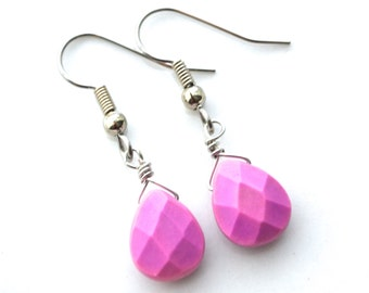 Fuchsia Magnesite Teardrops . Earrings