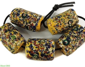 """5 """"End of the Day"""" Venetian Trade Beads Yellow African 99754 SALE WAS 225"""