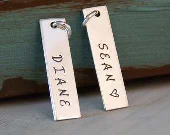 Just One Name or Date Tag - Sterling Silver Hand Stamped Vertical Rectangle Tag - Personalized Charm