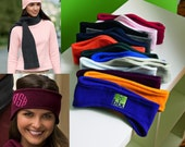 Solid Color Stretch Fleece Earwarmers Headband ~ Game Day~ Sports - Monogrammed FREE