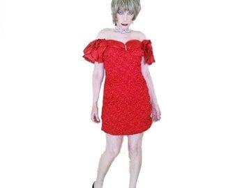 Vintage Red Satin Dress - 70s Valentine Red Mini Dress - Zum Zum Cocktail Sheath - Off Shoulder