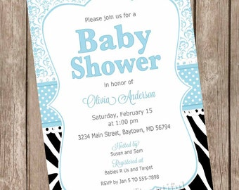 Boy damask zebra baby shower invitation, zebra print invitation, blue and black baby shower invitation, baby boy invitation, zebra print