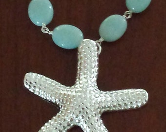 Sale...Sterling Silver Starfish Pendant with Amazonite Beads...16  inches in length