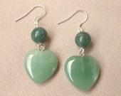 Heart Earrings, Green Aventurine Earrings, Aventurine Heart, Sterling Silver, Spiritual Jewelry, Gemstone Heart, Green Aventurine