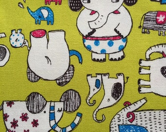 Japanese cotton fabric Elephant printed Half yard yellow green colour