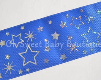 """3"""" Royal Blue with Silver Holographic Stars  *Cheer Bow Ribbon*"""