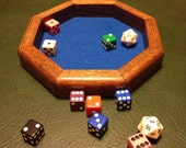 Wooden Octagon Dice Tray with Stain