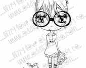 INSTANT DOWNLOAD Includes Sentiment Kawaii Christmas Chibi Girl ~ Jaz So Ready for Xmas No.270 [A & B] by Lizzy Love