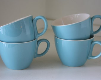 Vintage Turquoise Coffee Tea Cups Set of Four