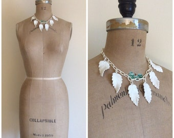 Vintage Celluloid 1930s White Leaf Leaves Necklace 30s Chain